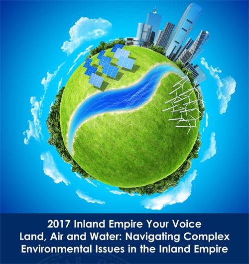 Advertisement for 2017 Inland Empire Your Voice conference showing a green globe and skyscrapers