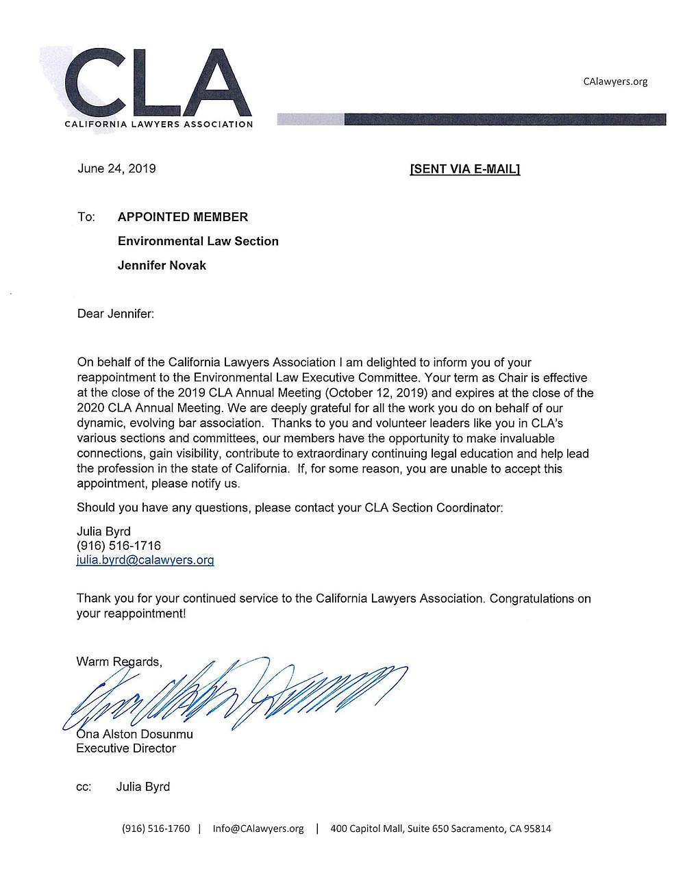 copy of a letter on California Lawyers Association letterhead