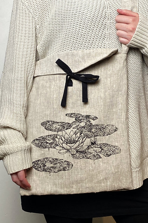 "Eco-friendly ""Waterlily"" 100% linen A3-size crossbody bag"
