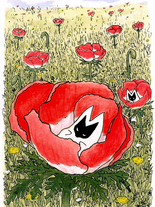"""Otus in the poppies,"" 2020, gouache"