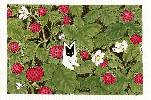 """Forest strawberries,"" 2020, gouache"