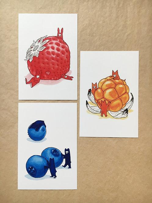 HUPSIS! - Metsämarjat - 3 postcard set