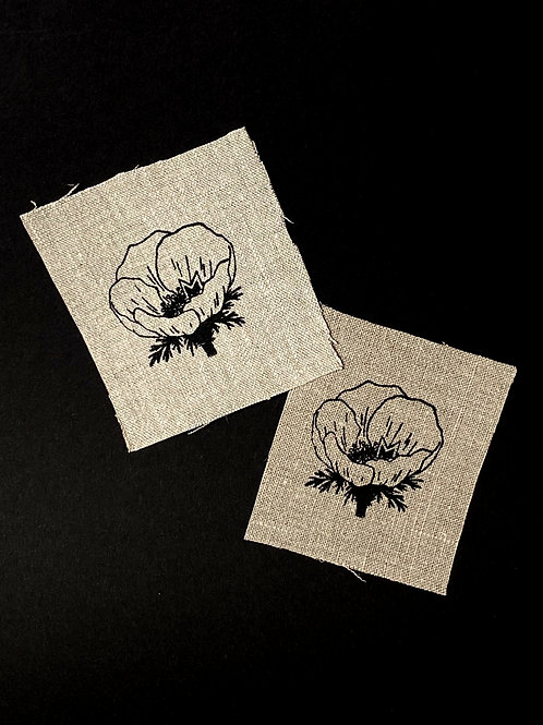 Otus in a poppy - Up-cycled screen printed sew-on linen patch