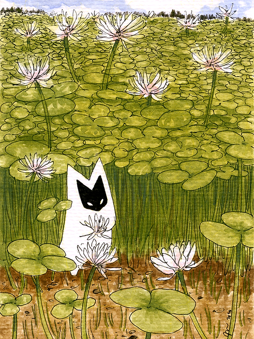 """Otus in the clover,"" 2020, gouache"