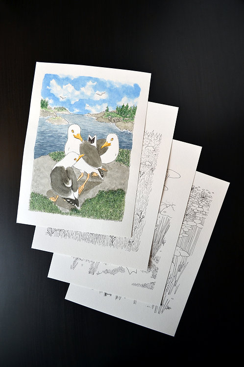 Otus in Summer 2020 - watercolor set of 4
