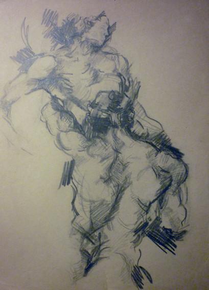 """graphite, 9.5 x 12.5"""", stamped"""