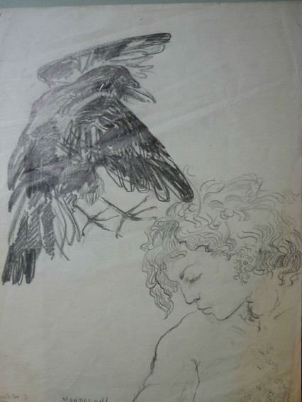"""graphite, 9.5 x 12.5"""", signed August 7, 1970"""