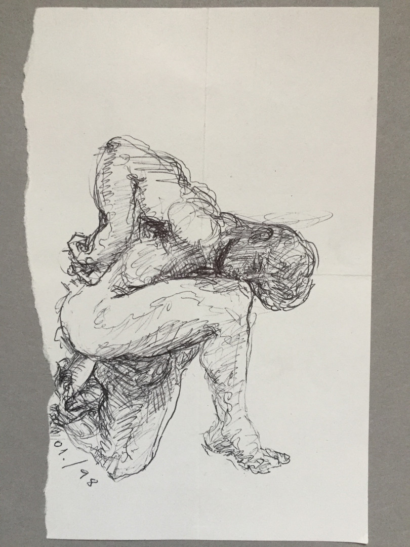 """Male Nude, ink, 3.25 x 5"""", 1/98, signed"""