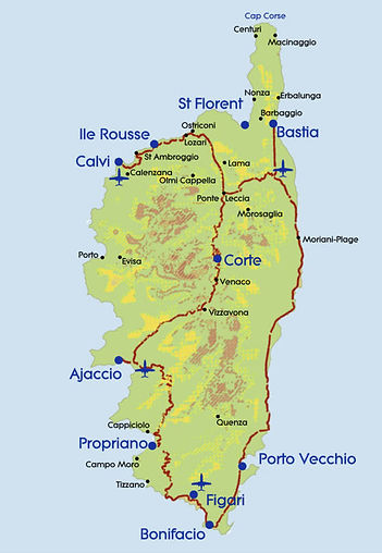 a Map of the island of Corsica