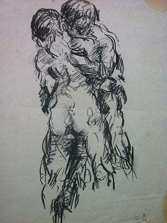 "by Jules Franck Mondoloni charcoal, 10 x 15.5"", signed"
