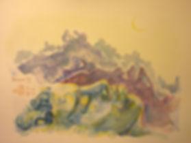 """Rêveur III, watercolor, 9 x 12"""", signed"""