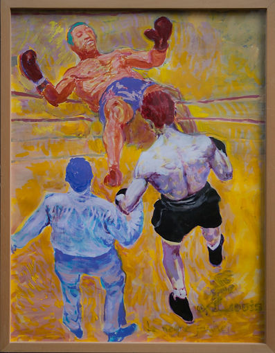 Le Nègre Jaune Joe Louis au sac Joe Louis knocked out by Max Schmeling by Jules Franck Mondoloni 1991 Acrylic / Paper 25.75 X 39.5inches 65 X 100 cms Max Schmeling vs Joe Louis (1st meeting),  Jun. 19, 1936 Yankee Stadium, Bronx, New York DL-BOX-010
