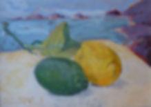 """Citrons et mes Sanguinaires, 1995, acrylic/canvas, 10.5 x 7.5"""""""