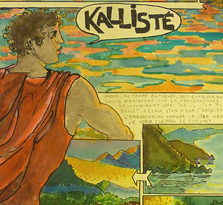 "A page from the graphic novel ""Kalliste"" by Jules Franck Mondoloni, an illustration depicting the Greek landing on Corsica and founding of Aleria in 566 BCE."