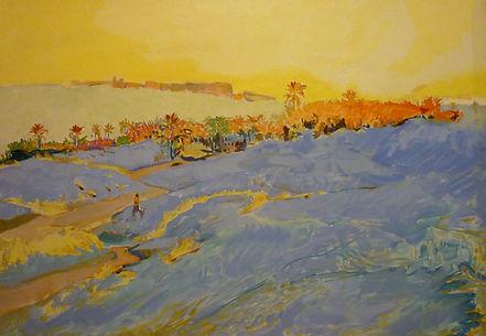 "Pasant dans l'oasis (Tunisie), alkyd/canvas, 1987, 35 x 26"""