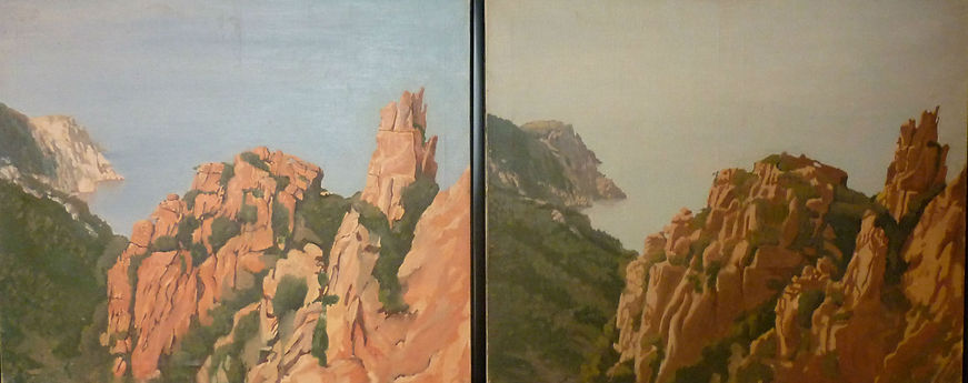 Les calanches de Piana, Matin et Soir diptych, oil/canvas, 1991, 52 x 21 (two panels)