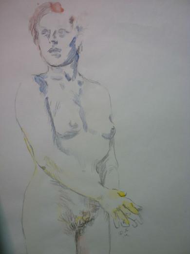 """Untitled, graphite/watercolor, 14.5 x 18"""""""