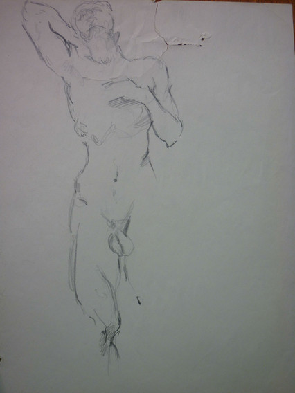 """graphite, 11.5 x 15.5"""", signed, torn (repaired) shown in image"""