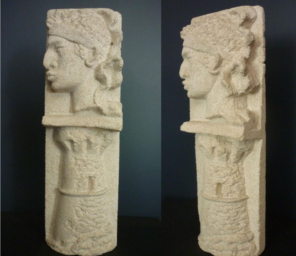 """Bas Relief Sculpture in Corsican calcium stone  """"Tête de Maure & Tour Génoise"""" 13h x 4w x 2d"""""""