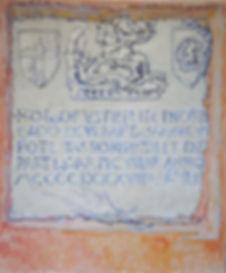 "Armoirie à Bonifacio (St. George's coat of arms), 1992, alkyd/canvas, 22 x 26.5"""
