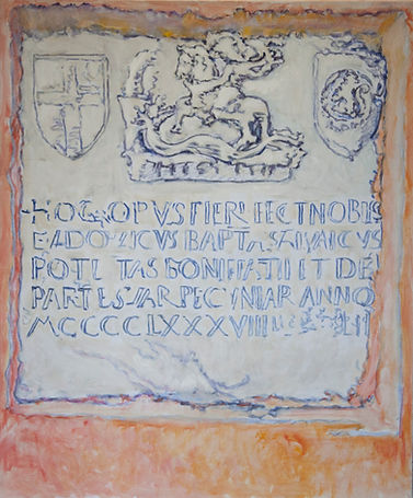 Armoirie à Bonifacio (St. George's coat of arms), 1992, alkyd/canvas, 22 x 26.5""