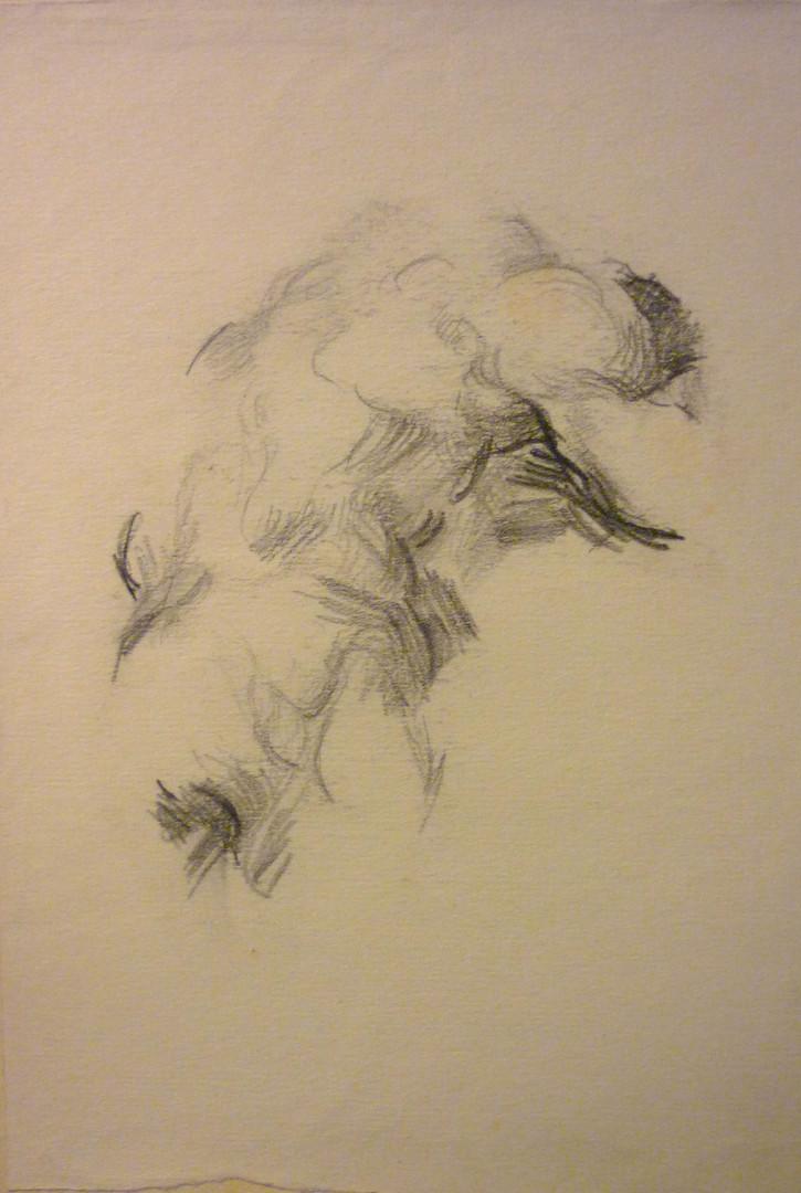 """graphite, 5.5 x 7"""", stamped"""