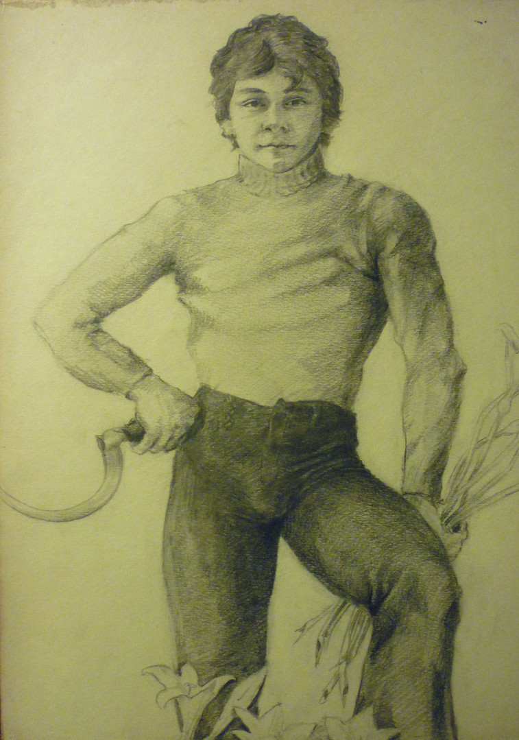 """Young Man With a Scythe, graphite, 11/21/1976, 8.25 x 11.75"""", signed Ref: DL-MISC-067"""