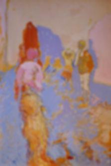 """Carrefour des Départs (Tun, 1990, alkyd/pencil/canvas, 19.25 x 28"""""""