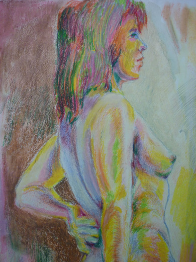 "Untitled, oil pastel, 14.5 x 18"""