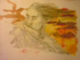 "Rêveur I, watercolor, 9 x 12"", signed"