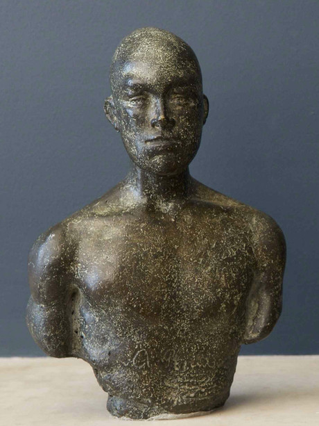 """Bronze bust of Arthur Rimbaud, centennial homage, 1991  9h x 6w x 3.5d""""  (Rimbaud shaved his head after the death of his sister Isabella)"""