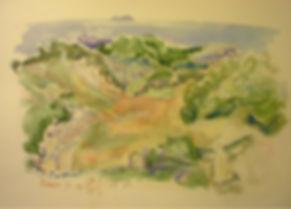 """Rêveur II, watercolor, 9 x 12"""", signed"""