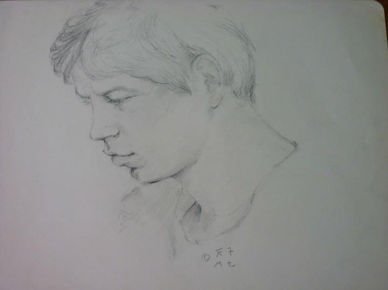 """Portrait of Dédé Blanc, pencil, 1972, 9 x 12"""", signed"""