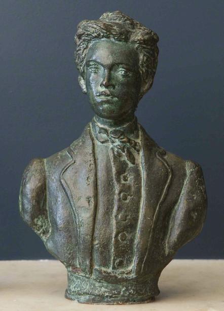 """Bronze bust of Arthur Rimbaud, centennial homage 8.5h x 6w x 2.5d"""""""
