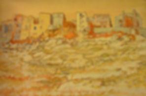 """Bonifacio 21, Vielle ville sur la falaise, 1991, acrylic/canvas, 32 x 22"""""""