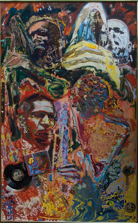 Hommage à John Coltrane by Jules Franck Mondoloni 1995 Mixed Media 32 x 51.25 inches 81 x 130 cms DL-MISC-093