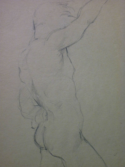 """side 1 of 2 (see next image) graphite, 9.5 x 12"""", signed"""