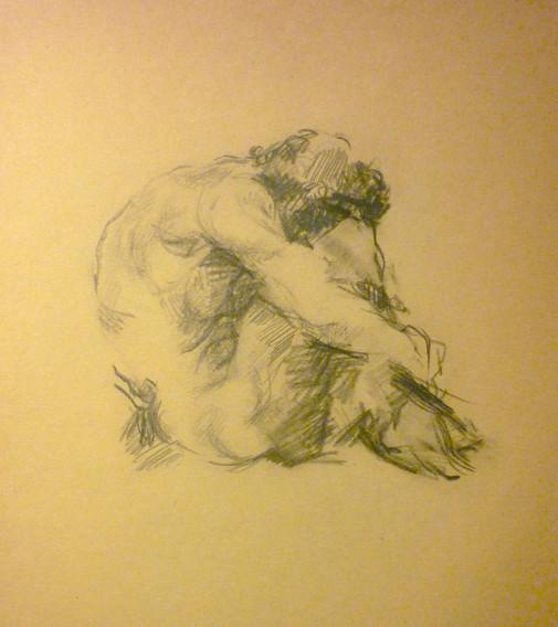 """graphite, 12.25 x 9.5"""", stamped"""