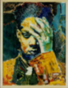 Hommage à Jean-Michel Basquiat  by Jules Franck Mondoloni July 9, 1992 19 X 25 inches 48 X 63.5 cms ACRLYLIC / PAPER DL-MISC-092