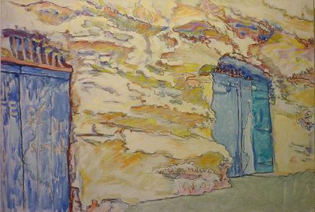 "Bonifacio 14, Atelier troglodyte de frecheurs, 1991, alkyde/canvas, 29 x 24"""