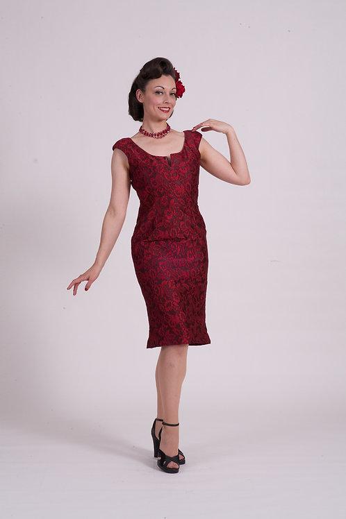 'Audrey' dress ( short ) - Red/Black lace brocade