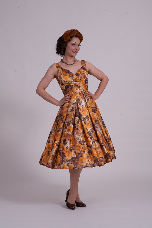 'Doris' Day Dress - Orange Retro Roses