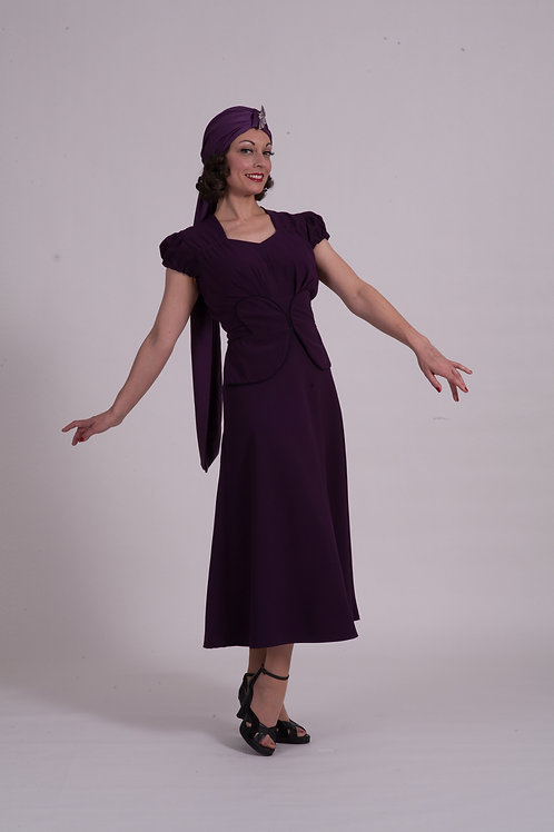'Lauren' 1940's dress - Aubergine crepe or Midnight crepe option