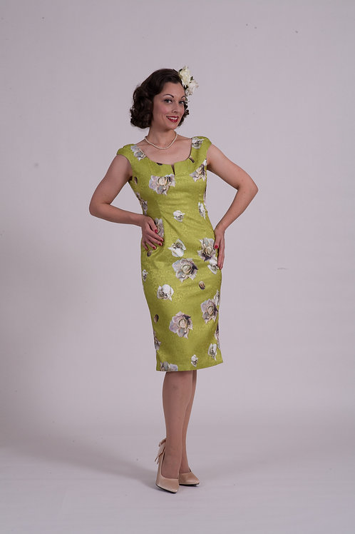 'Audrey' dress ( short ) - Chartreuse Satin Rose