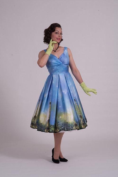 'Doris' Day Dress - Blue/Green Paris Silk