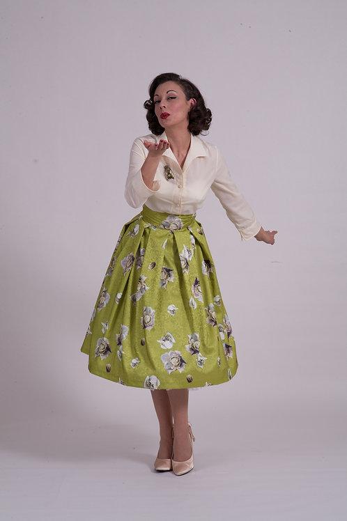 'Elizabeth' full skirt - Chartreuse Satin Rose