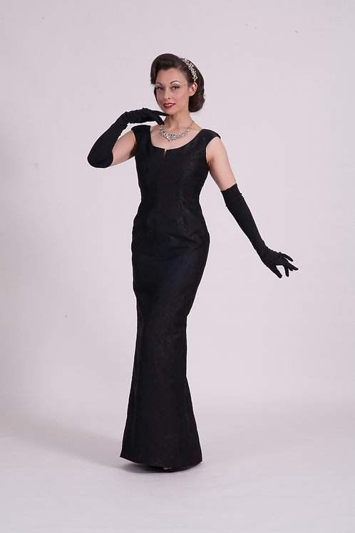 'Audrey' dress ( Long ) - Black Embossed Brocade