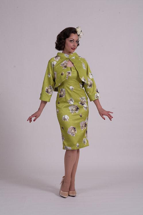 Kimono Jacket - Chartreuse Satin Rose