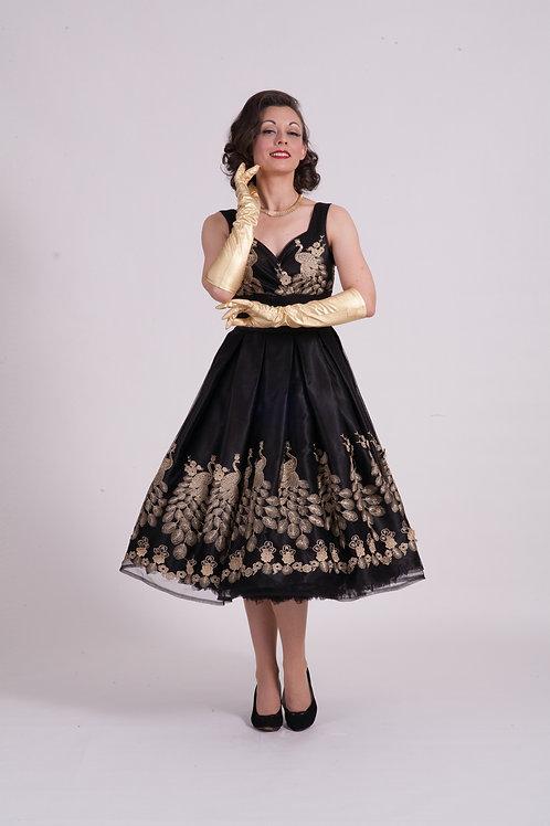 'Doris' Occasion Dress - Black/Gold Peacock