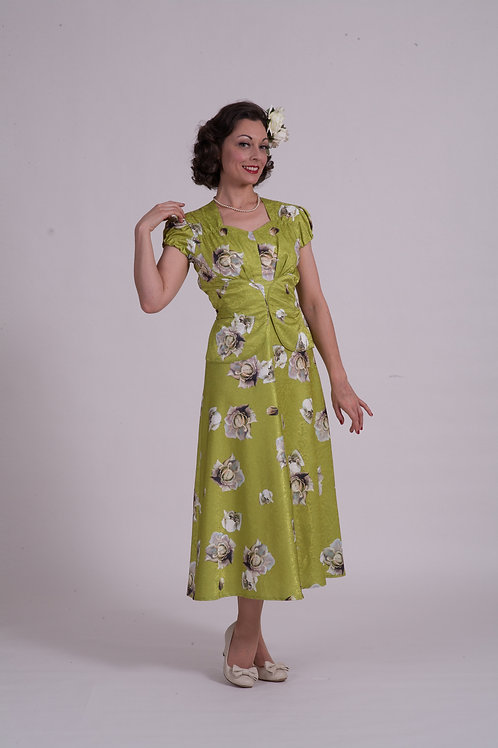 'Lauren' 1940's dress - Chartreuse Satin Rose